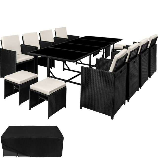 tectake salon de jardin palma 12 places 8 chaises 4 tabourets en resine