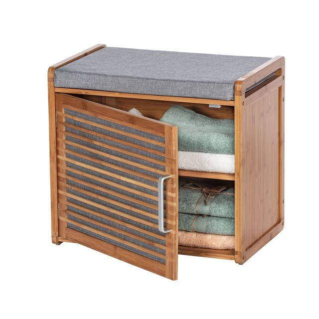 banc armoire de salle de bain en bambou bahari l 50 x h 45 cm gris