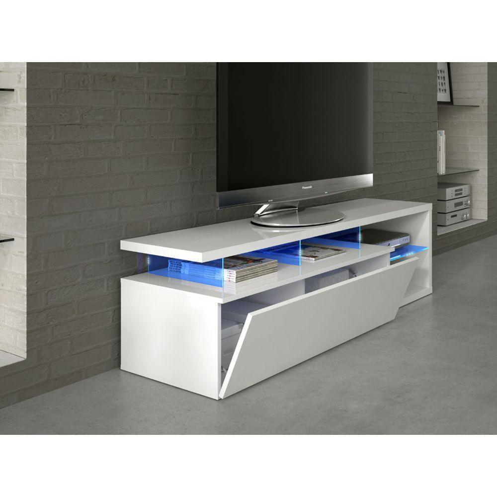 habitat et jardin meuble tv led blue light 150 x 41 x 43 cm blanc