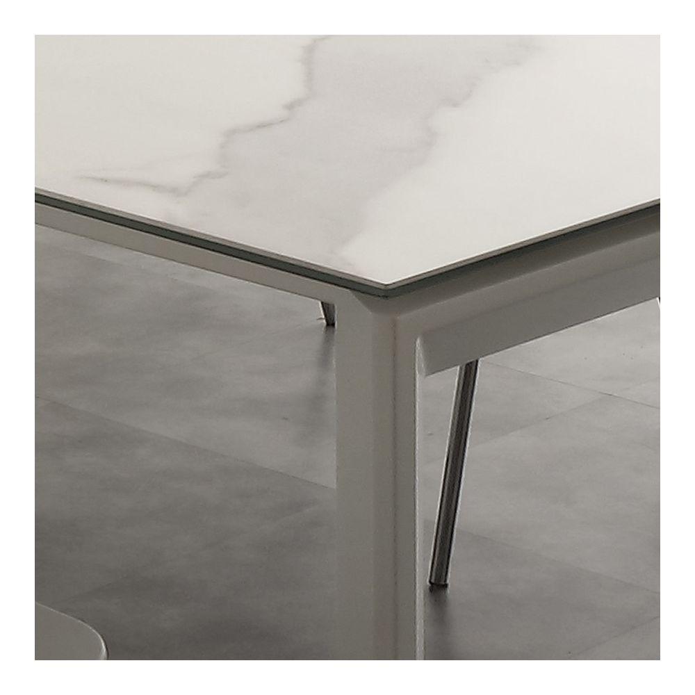 nouvomeuble table extensible en ceramique effet marbre eva