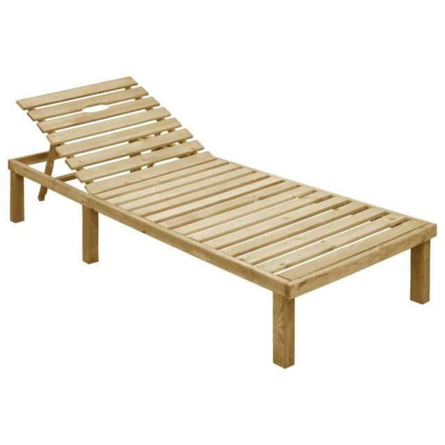 uco chaise longue bois de pin impregne