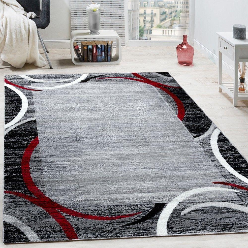 paco home tapis de salon moderne avec bordure tapis de marque mouchete gris noir rouge
