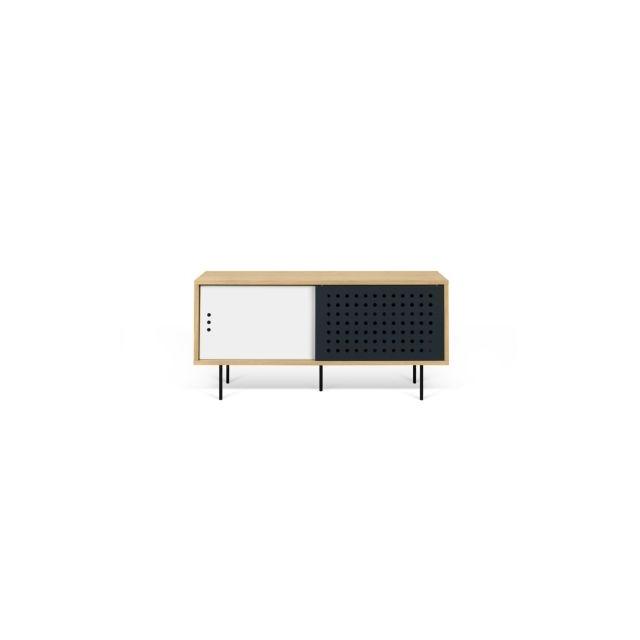 meuble tv dann tema home 135 cm blanc chene