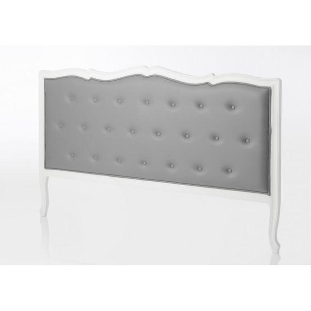 tete de lit 180 cm en bois blanc capitonne en tissu gris murano celeste