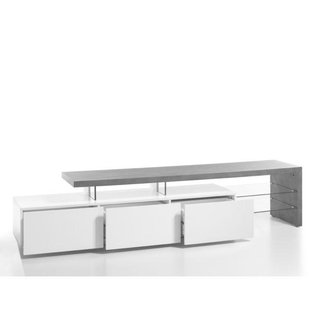 meuble tv en blanc mat et decor beton avec 3 tiroirs l204 x h40 x p40 cm