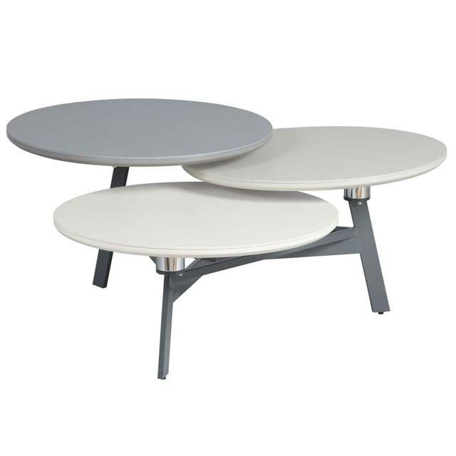 gurvan table basse 3 plateaux pivotants excentres