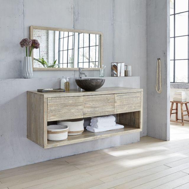meuble de salle de bain en bois d hevea suspendu 150