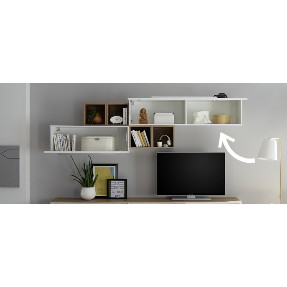miliboo element mural tv horizontal laque blanc brillant avec baguette eternel