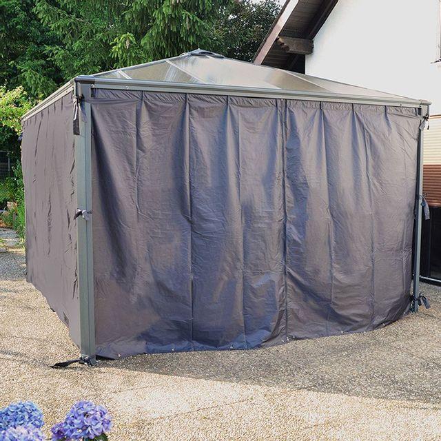 set de 4 rideaux pour tonnelles grise 3 x 3 m et 3 6 x 3 6 m