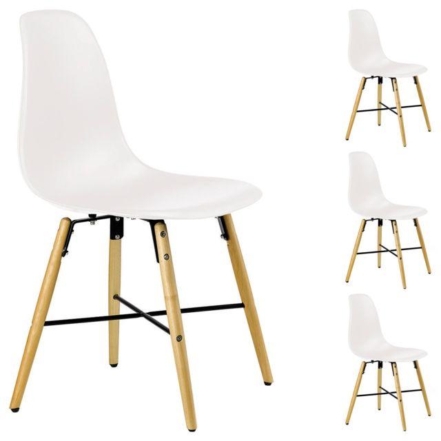 lot de 4 chaises cicero pour salle a manger ou cuisine au design retro avec