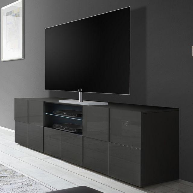 grand meuble tv gris laque brillant dominos 2