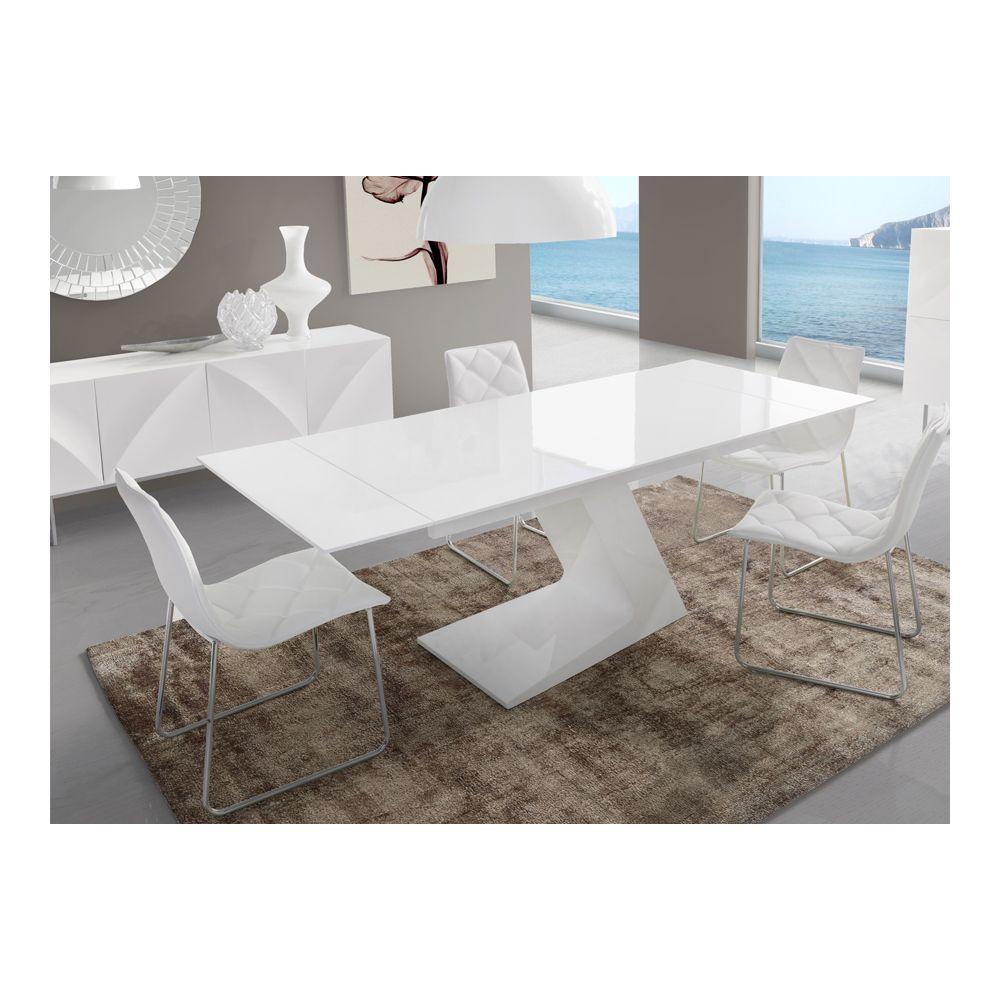 kasalinea table de salle a manger extensible blanc laque design helga