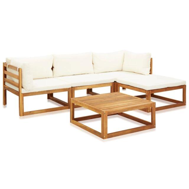vidaxl salon de jardin 5 pcs avec coussins bois d acacia solide