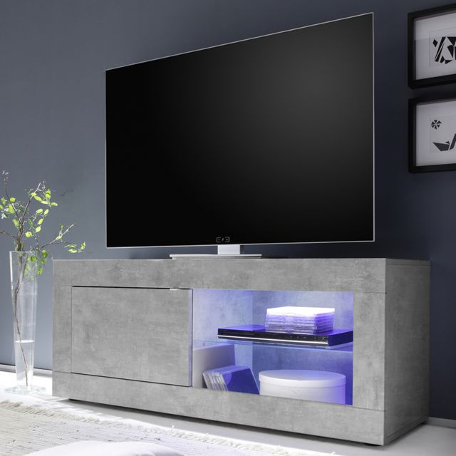 banc tv 140 cm effet beton gris clair design ariel 4
