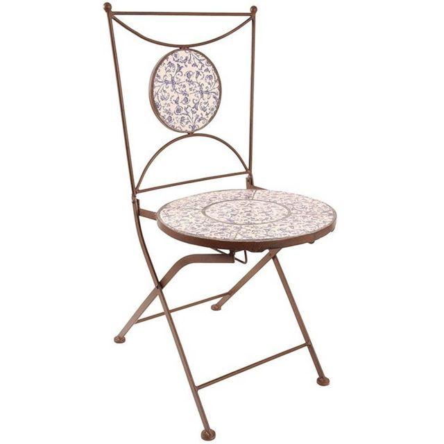 chaise jardin fer forge ceramique