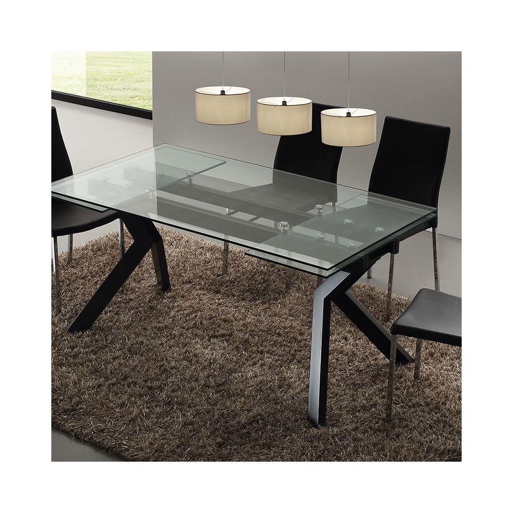nouvomeuble table en verre extensible taupe design aurelia