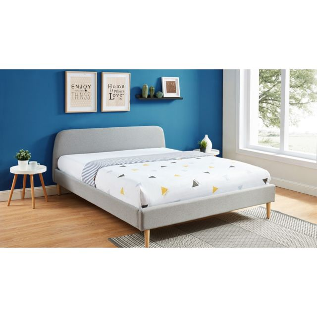 lit adulte scandinave 140x190 gris clair collection gaby