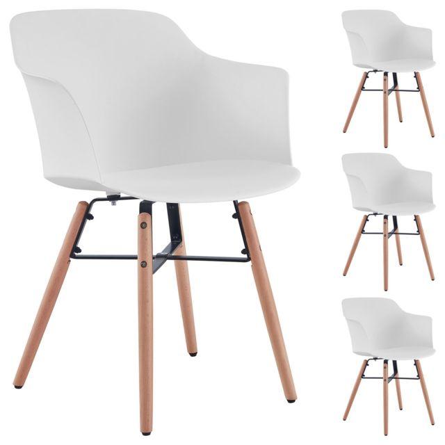 lot de 4 chaises de salle a manger izan design scandinave avec larges