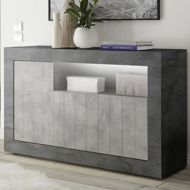 buffet 140 cm moderne couleur gris beton mabel 8