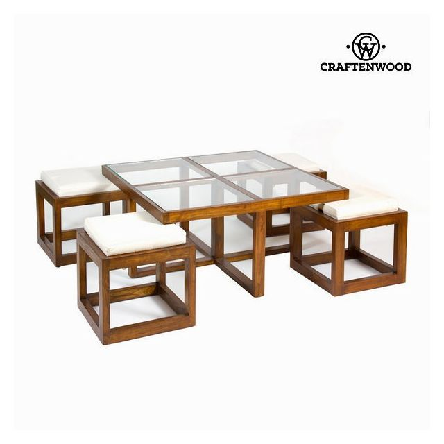 table basse en bois et verre avec tabourets decoration de la maison et du