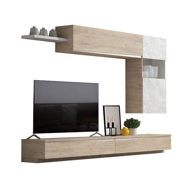 composition tv bois clair marbre blanc camelia n 1
