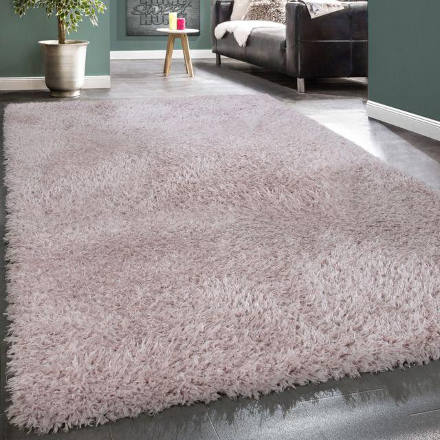 tapis poils hauts moelleux moderne shaggy style flokati confortable uni rose
