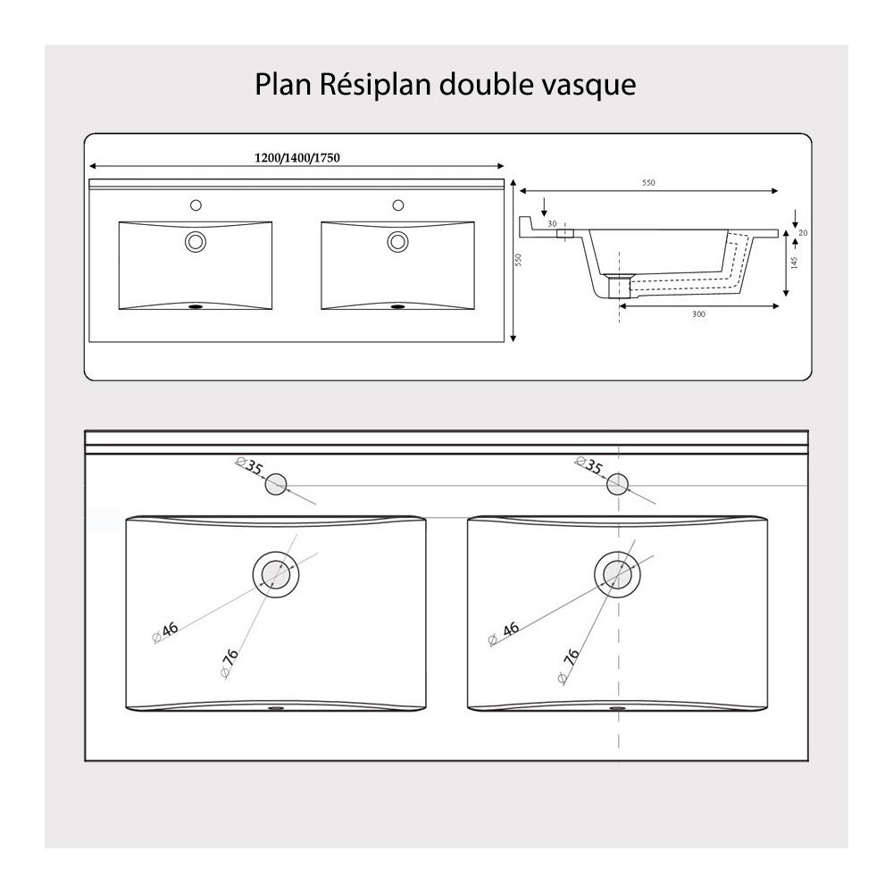 creazur plan double vasque en resine resiplan 175 cm