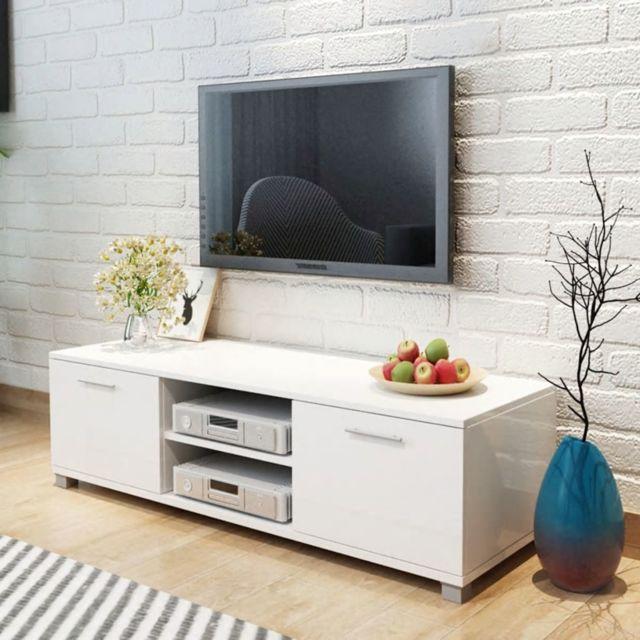 vidaxl meuble tv a haute brillance blanc 120 x 40 3 x 34 7 cm