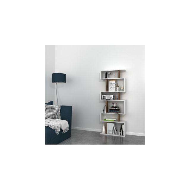 homemania bibliotheque tablero avec etageres meuble de rangement pour