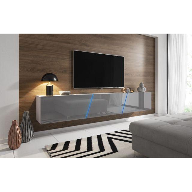 vivaldi meuble tv slant 2 240 cm blanc mat gris brillant led style