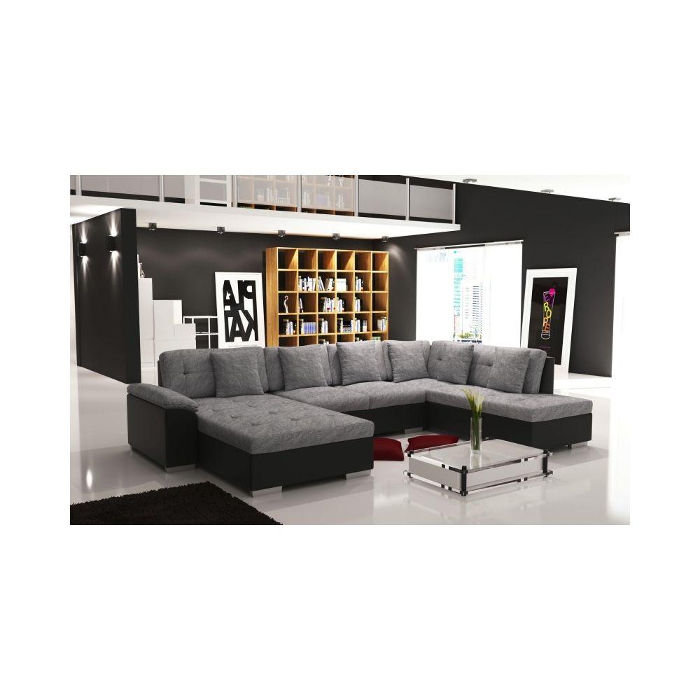 meublesline canape d angle en u panoramique smile gris et noir