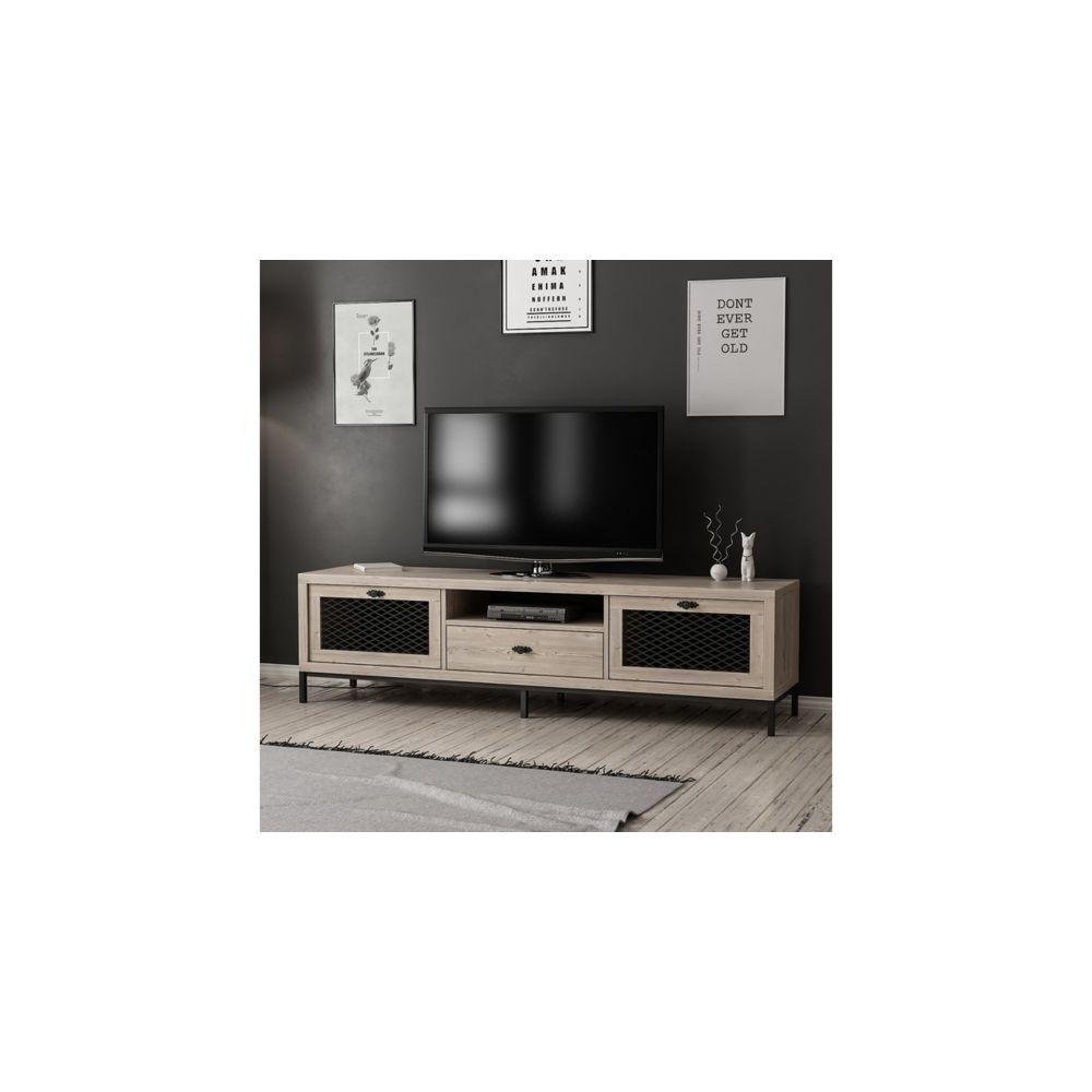 homemania homemania meuble tv zeus moderne avec portes etageres tiroir pour salon noir en bois 180 x 35 x 49 cm