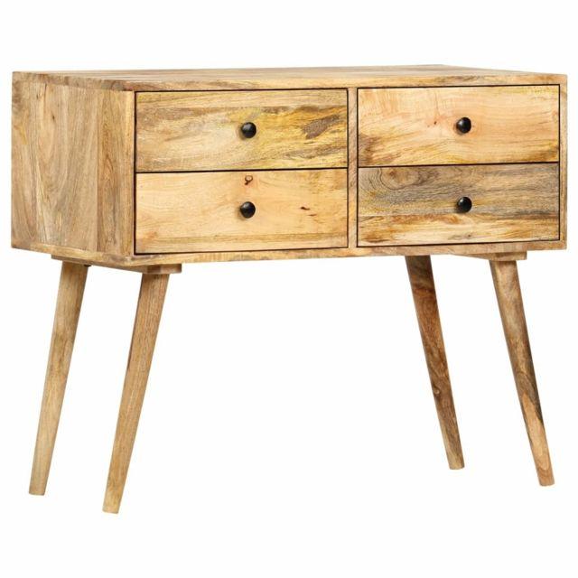 vidaxl bois de manguier massif buffet 85x40x71 cm meuble rangement commode