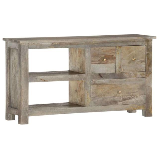 uco meuble tv 110x30x55 cm bois massif de manguier