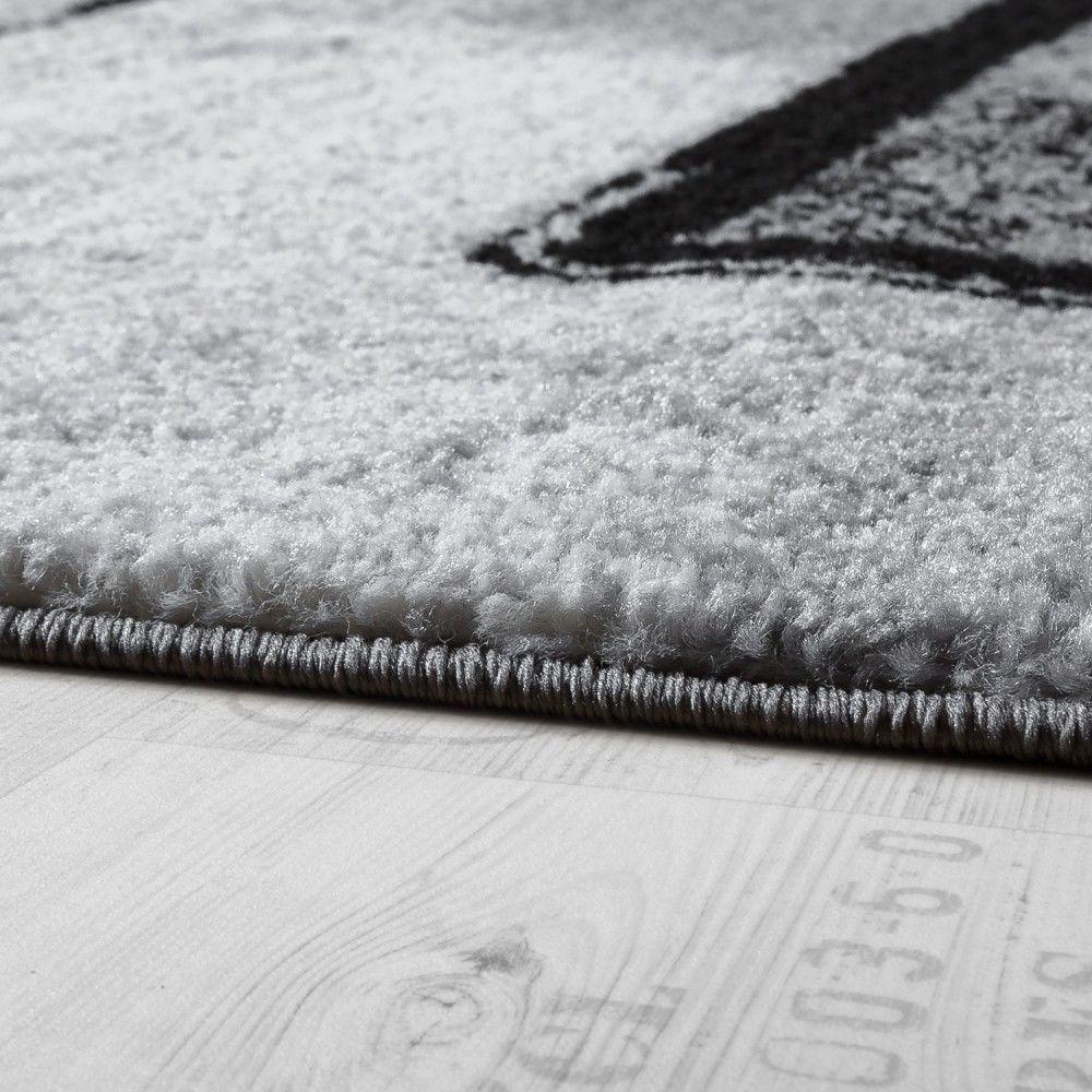 paco home tapis design moderne poils ras abstrait peintures effet noir gris anthracite