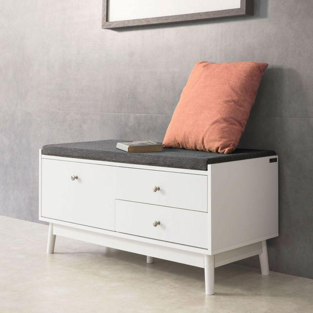 sobuy fsr56 w banc de rangement meuble d entree avec coussin rembourre et