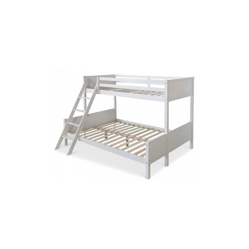 homestyle4u lits superposes 90x200 mezzanine et lit de jeunesse 140x200 bois blanc