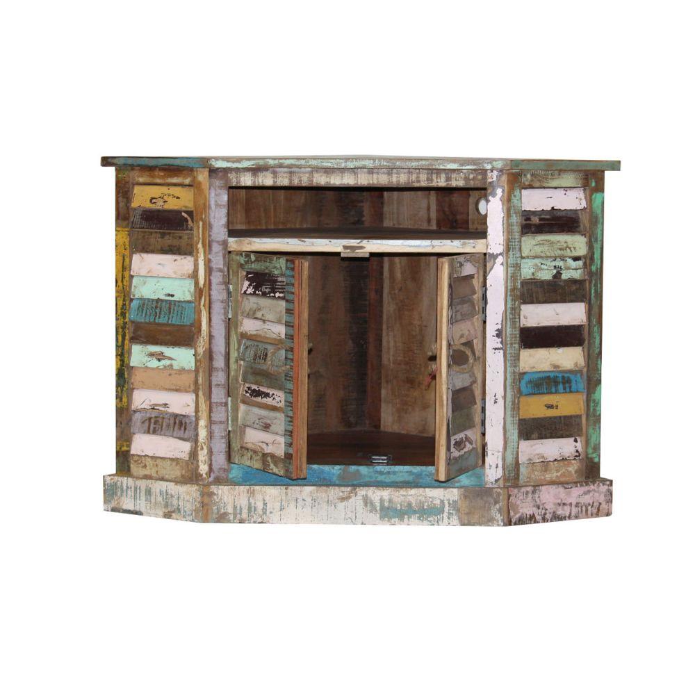 meuble tv d angle ethnik bois recycle