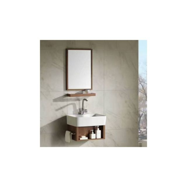ensemble petit meuble de salle de bain chene fil blanchi 48x37 cm evoc
