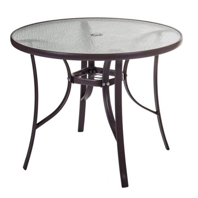 table de repas ronde verre acier marron tikehau