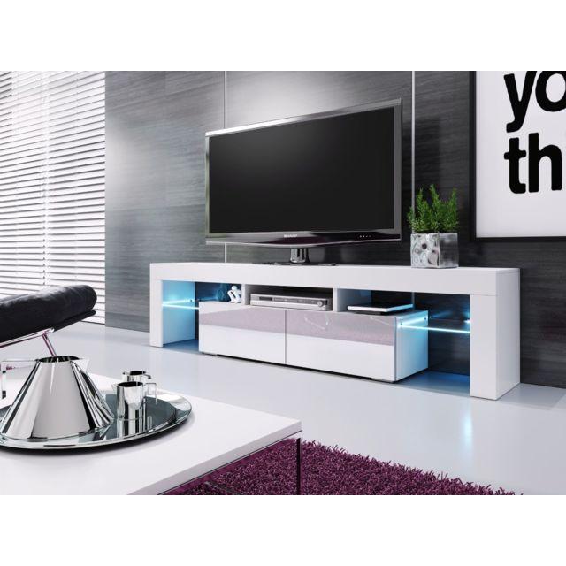 meuble banc tv blanc laque 1m90 leds fournies moinschercuisine