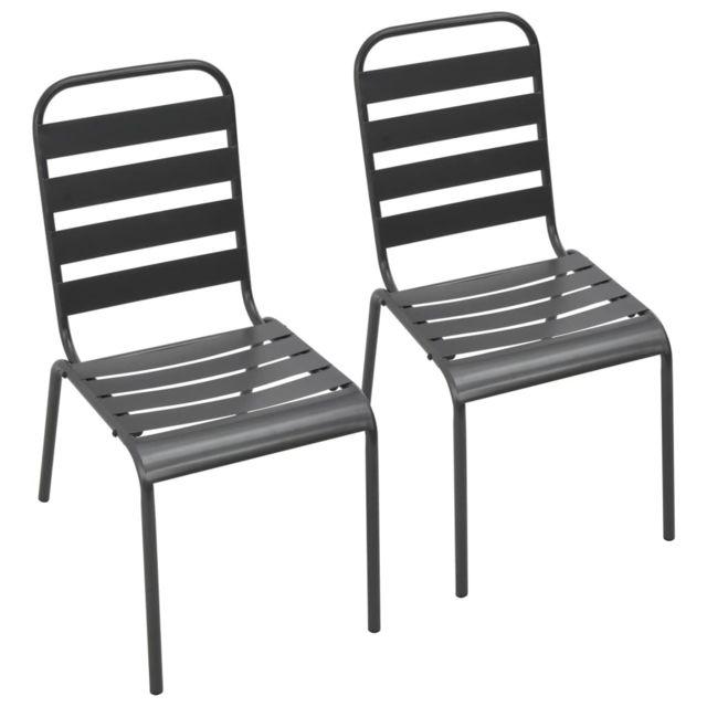 chaises empilables de d exterieur 2 pcs acier gris