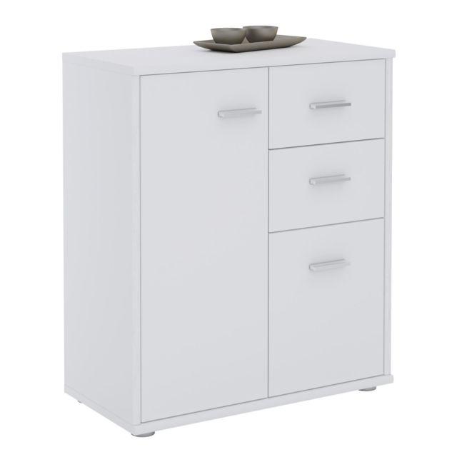 buffet remy commode meuble de rangement avec 2 tiroirs et 2 portes en