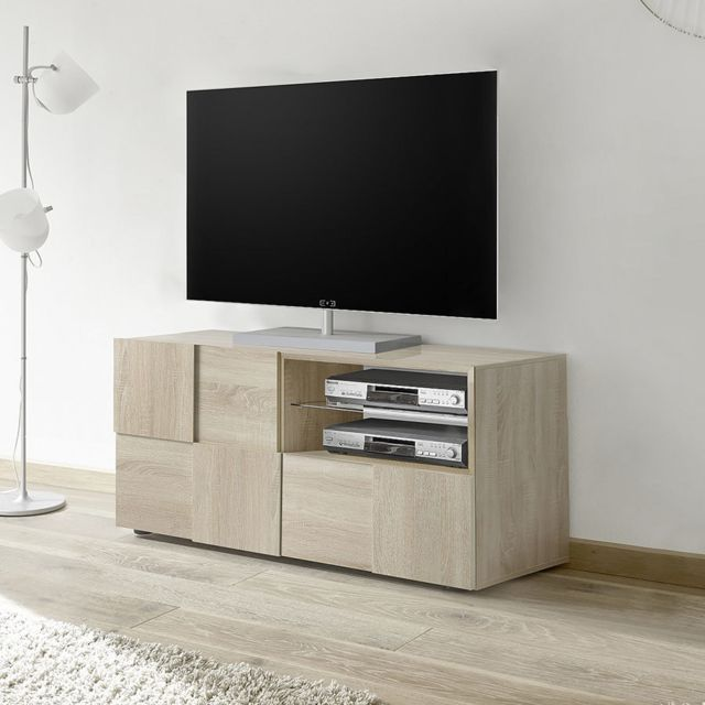 petit banc tv 120 cm couleur chene clair artic 3
