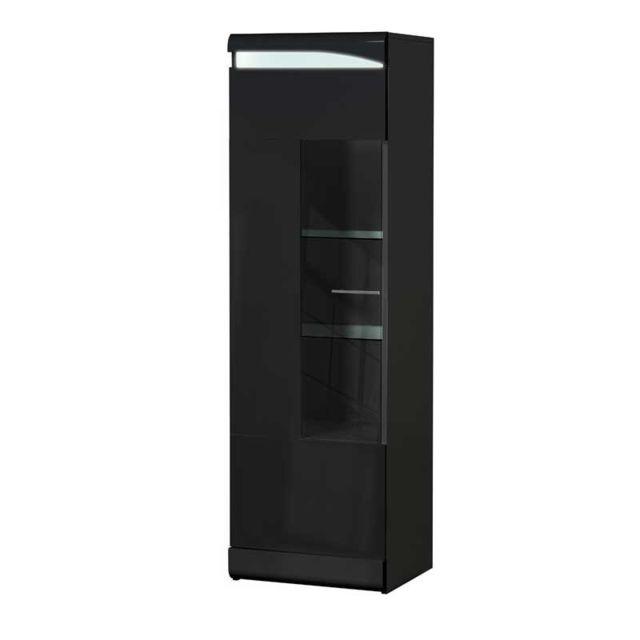 colonne vitree 1 porte noir laque brillant pesmes