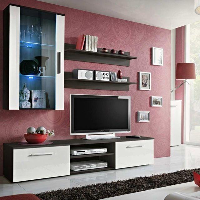 meuble tv mural design galino v coffee blanc wenge