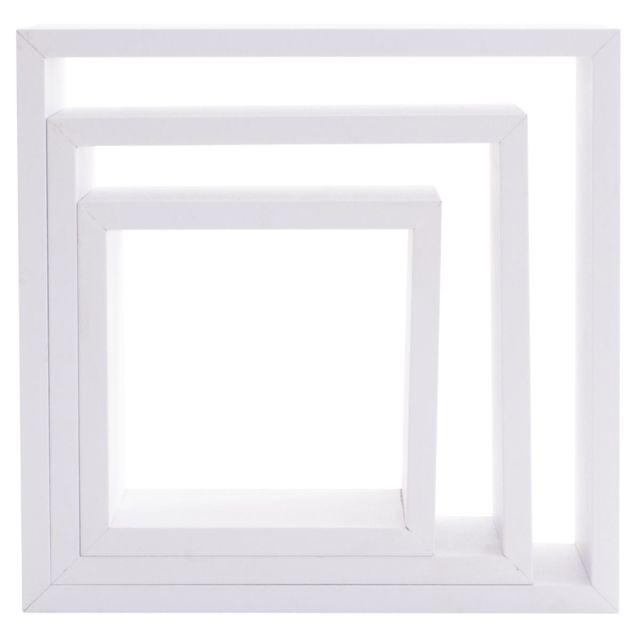 kit de 3 etageres murales cube blanc