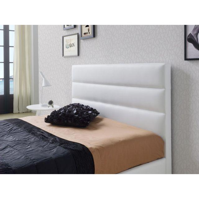 tete de lit pour lit 160 cm en simili cuir blanc huasca l 172 x h 118