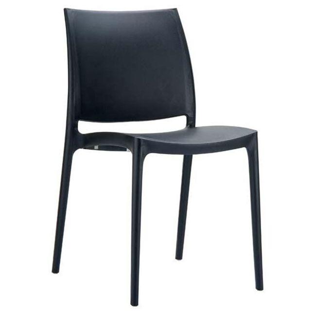 chaise de jardin empilable en plastique noir dim h81 x p50 x l44 cm
