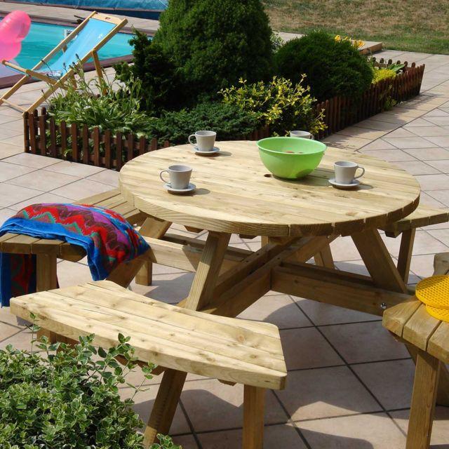 table pique nique ronde en bois avec bancs